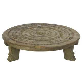 Wood Carved Mandala Low Stand