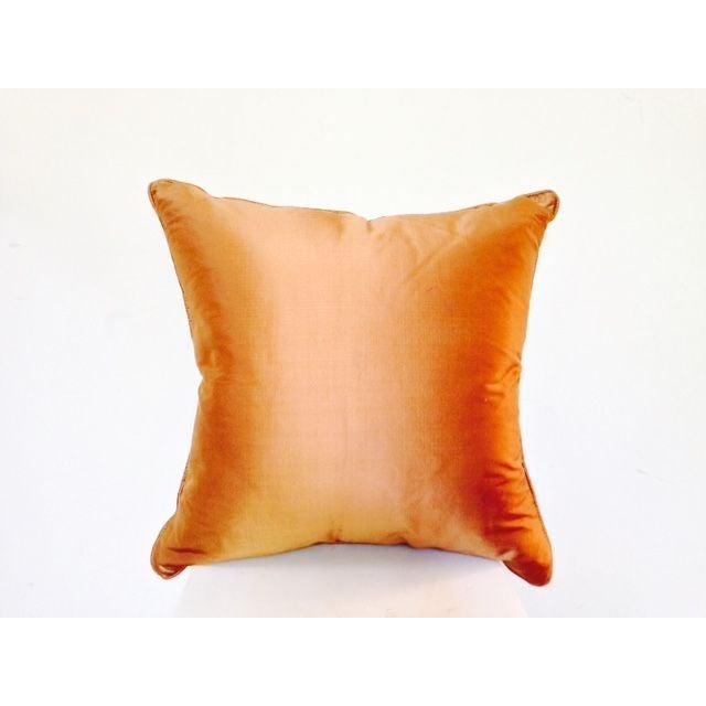 Two Toned Orange Silk Pillow - Image 3 of 5