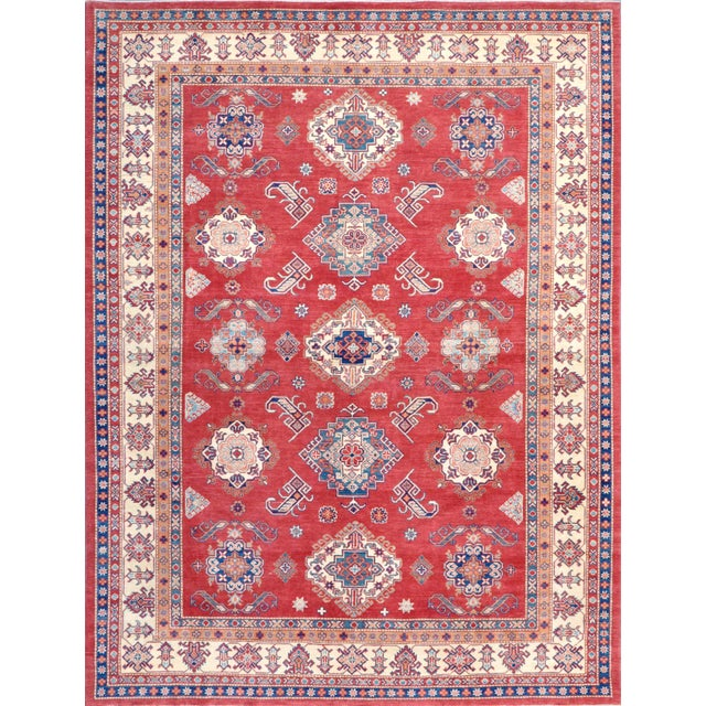 """Kazak Hand Knotted Wool Rug - 9'1"""" x 12'4"""" - Image 1 of 2"""