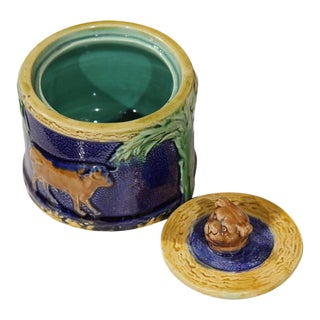 19th Century French Hand-Painted Barbotine Sugar Bowl With Lid and Cows