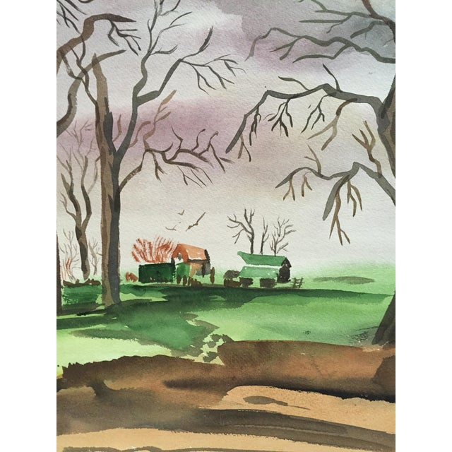 1950's Double Sided Gouache Landscape Painting - Image 4 of 6