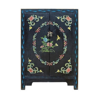 Chinese Distressed Black Floral Graphic Cabinet