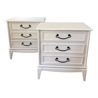 Soft Gray Mid-Century Solid Wood Nightstands - a Pair