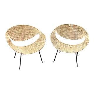 Mid-Century Rattan Hoop Chairs - A Pair