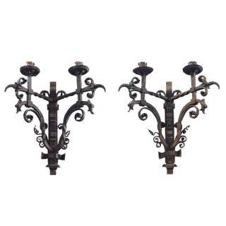 Pair of French Wrought Iron Sconces