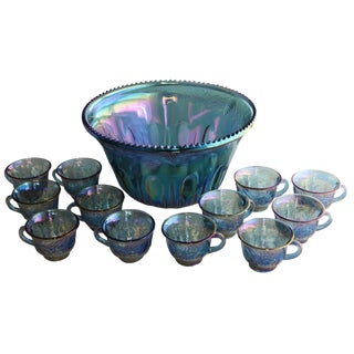 Carnival Glass Punch Bowl with 12 Cups