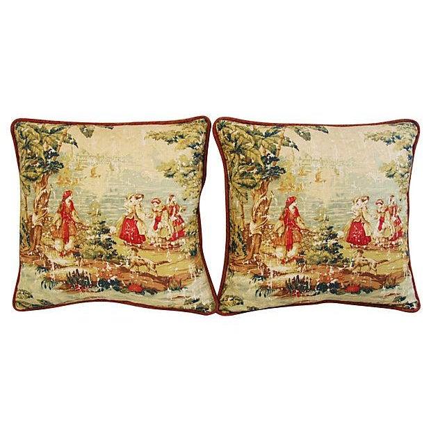 Vintage Custom Renaissance Toile Pillows - A Pair - Image 6 of 7