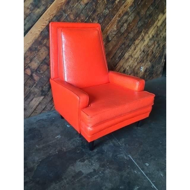 Vibrant Mid Century Orange Vinyl Lounge Chair - Image 4 of 7