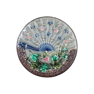 Antique Continental Majolica Fan Plate