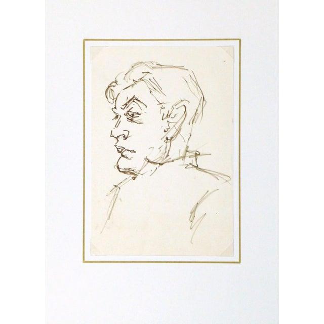 Vintage Man in Profile Ink Drawing, C. 1950 - Image 3 of 3