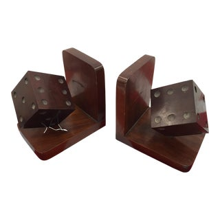 Antique Wooden Deco Style Dice Bookends - Pair