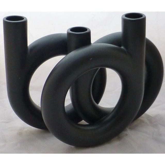 Image of Vintage Black Triple Coil Ikebana Japanese Vase