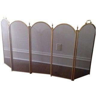 Vintage Five Panel Brass Fireplace Screen