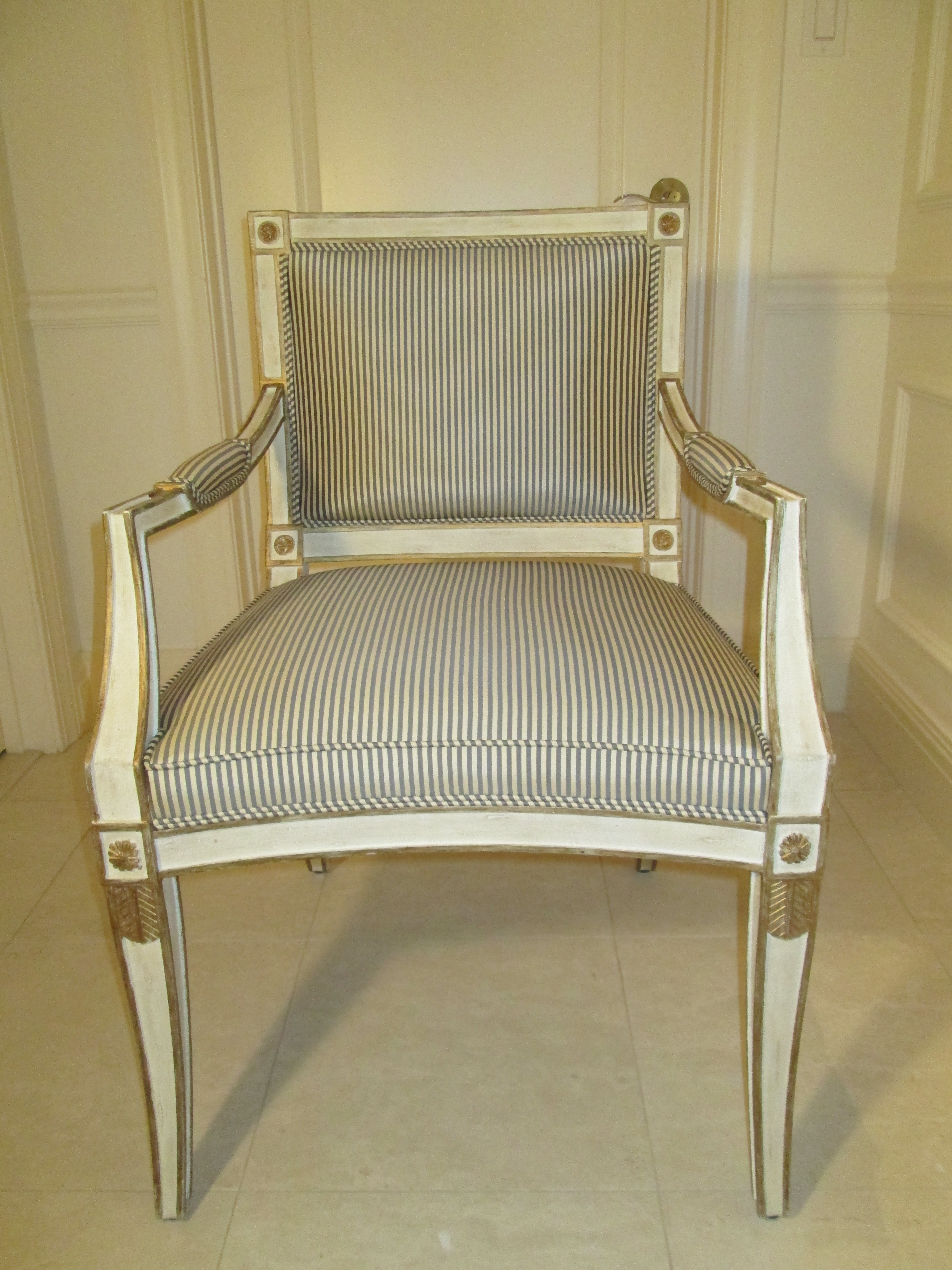 Neoclassical Armchair In Striped Silk   Image 3 Of 11