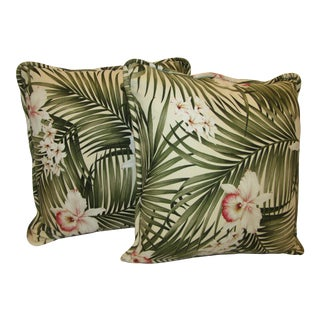 Tropical Print Accent Pillows - A Pair