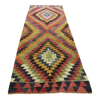 Vintage Handwoven Decorative Turkish Kilim - 4.0 x 11.4