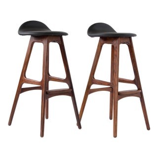 Erik Buch for O.D. Møbler Rosewood & Leather Bar Stools- A Pair