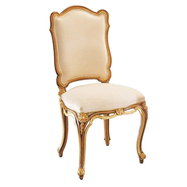 Image of Italian Gold & White Hand Carved Wood Chair