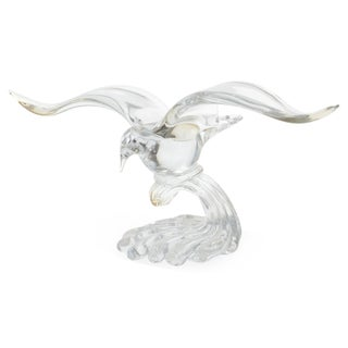 Mid-Century Modern Flying Seagull Glass Sculpture