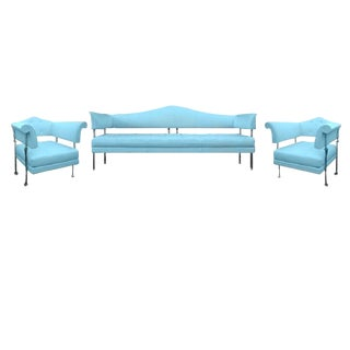 Poltrona Frau Hydra Enif Sofa Set by Luca Scacchetti in Atollo Pelle Frau Leather - Set of 3