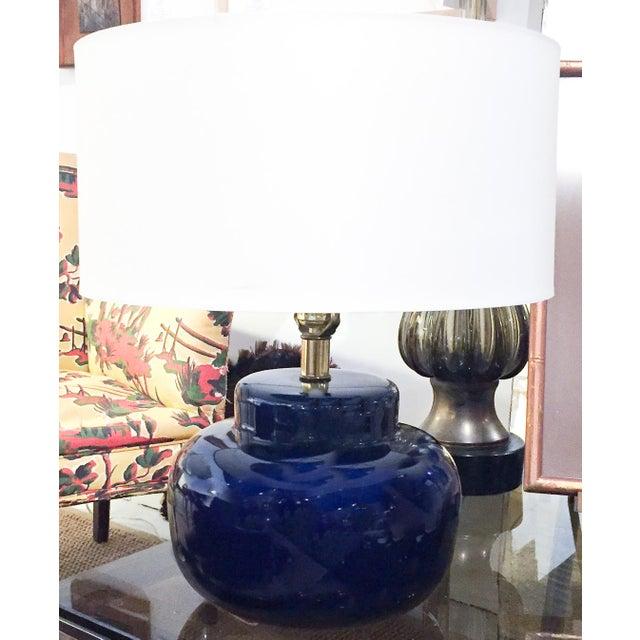 Mid Century Cobalt Blue Ceramic Lamp - Image 2 of 8