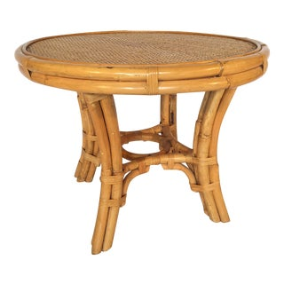 Vintage Palm Beach Cane and Rattan Round Side Table