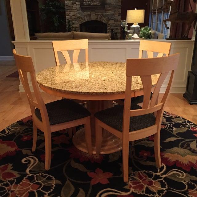 Saloom Natural Maple Granite Top Dining Set Chairish