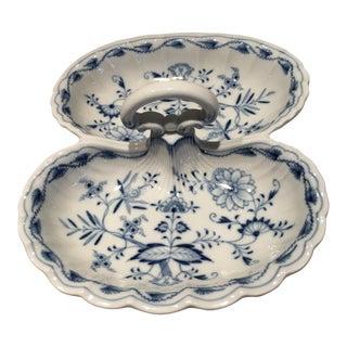 Antique Blue & White Floral Divided Serving Dish