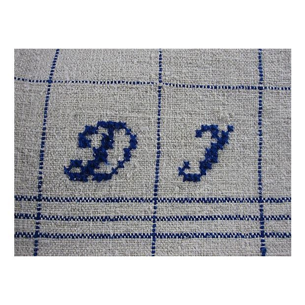 Hand-Spun, Embroidered French Blue Tea Towels - 6 - Image 3 of 5