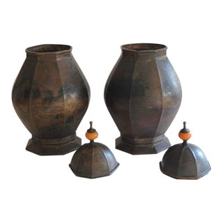 Large Maitland Smith Style Hand-Hammered Copper Urns