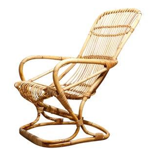 Franco Albini Style Rattan & Bamboo Lounge Chair