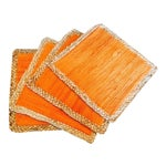 Image of Straw Braided Edged Placemats in Vibrant Orange - 4