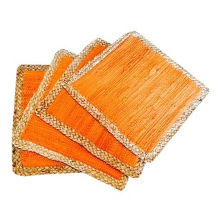 Straw Braided Edged Placemats in Vibrant Orange - 4