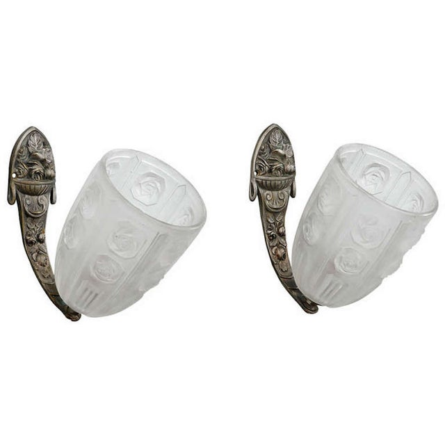 French Art Deco Sconces W Molded Glass Shades-Pair - Image 1 of 8