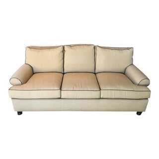 Contemporary Beige Upholstered Three-Cushion Sofa