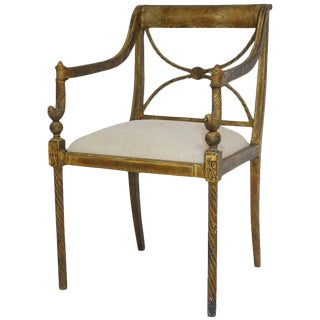 Regency Neoclassical Metal Rope Armchair