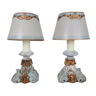 Italian Carved Wood Lamps - A Pair