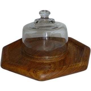Teak Cheese and Cracker Serving Dish