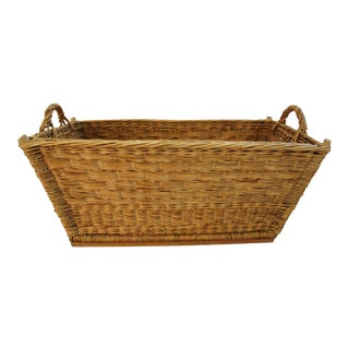 1940s French Willow/Wicker Market Laundry Basket