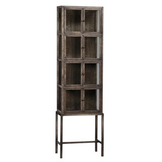 Tall Glass Storage Cabinet on Stand