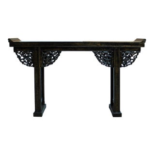 Chinese Distressed Black Lacquer Dragon Motif Apron Altar Console Table
