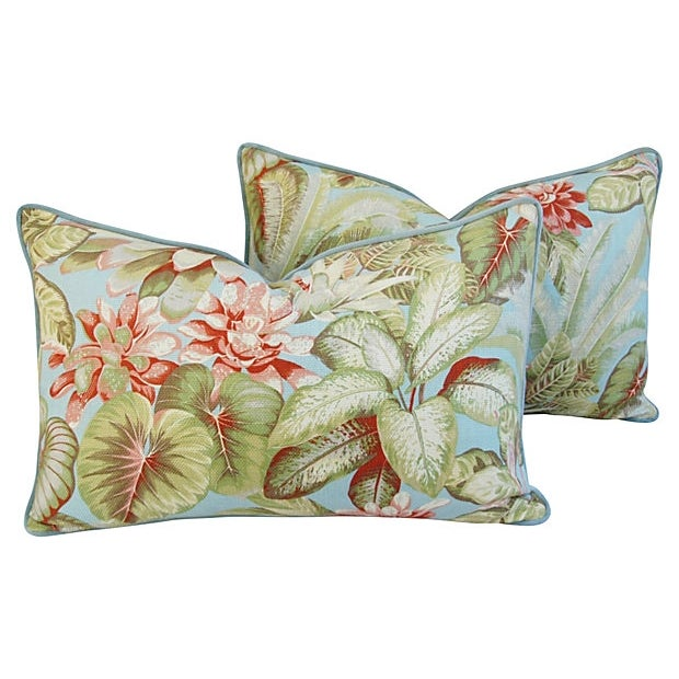 Image of Custom Botanical Linen & Velvet Pillows - Pair