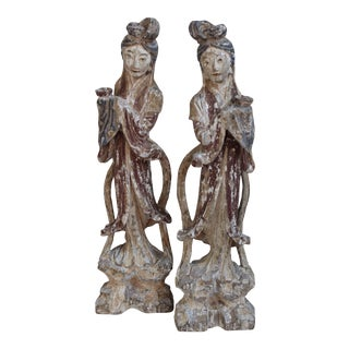 Polychrome Wood Carved Figures - A Pair