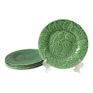 Vintage Green Majolica Plates - Set of 5