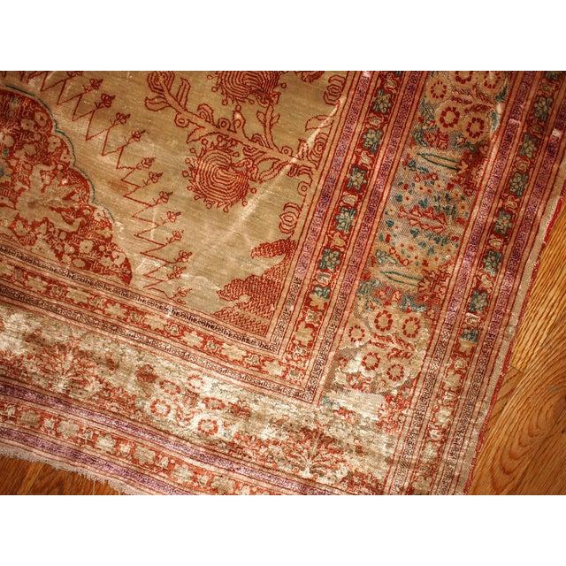 1880s Antique Persian Silk Tabriz Rug - 4' X 6' - Image 3 of 6