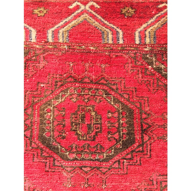 """Antique Turkaman Red Persian Rug - 1'10"""" x 2'10"""" - Image 6 of 7"""