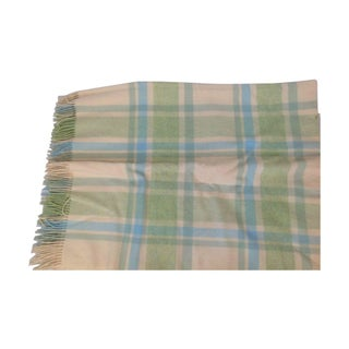 Lambs Wool Throw in Green and Blue