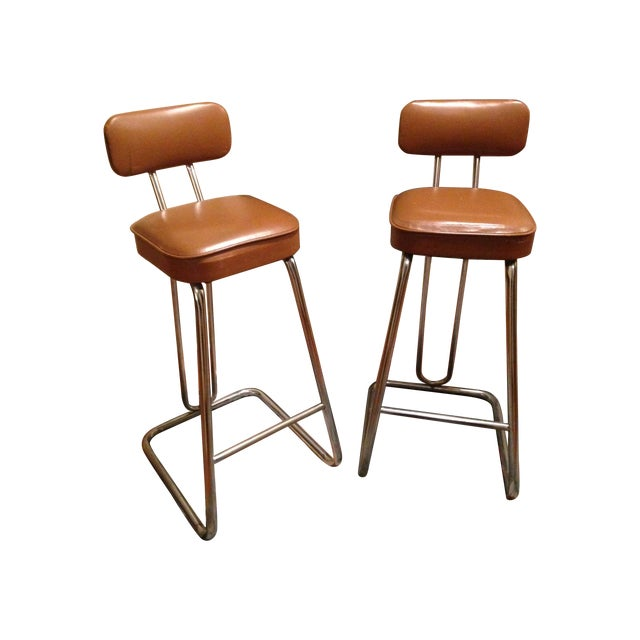 Mid-Century Art Deco Bar Stools - A Pair - Image 1 of 3