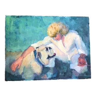 Vintage Woman & Dog Painting on Canvas