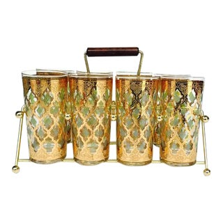 Culver Mid-Century 22Kt Gold Tumbler Glasses & Carrier- Set of 8
